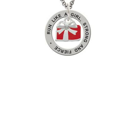 Silvertone Small Red Enamel Present Run Like A Girl Affirmation Ring - Girls Presents