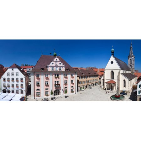 Town hall and St Martin Cathedral in old town Rottenburg am Neckar Baden-Wurttemberg Germany Stretched Canvas - Panoramic Images (27 x 9) (Town Hall 9 Halloween)