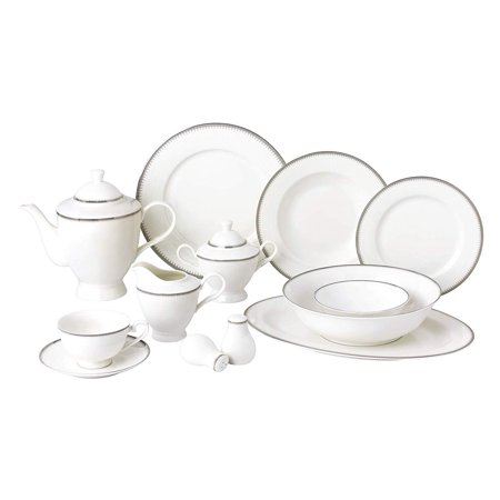Royalty Porcelain Vintage Platinum Pattern 57-pc Dinnerware Set 'Royal Silver', Premium Bone China Fine China Platinum Dinnerware Set