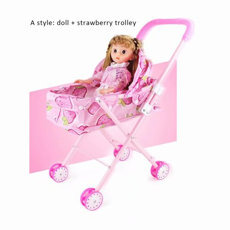Newborn Baby Toy Doll w/ Stroller, Baby Stroller Trolley Toy for Kids, Toy Babies for Fun Pretend Play, Size