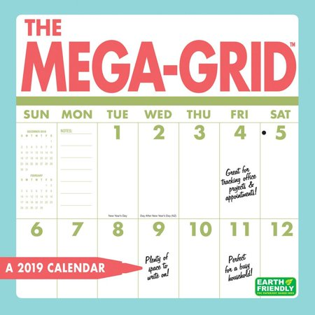 mega grid wall calendar big grid by calendars walmart com