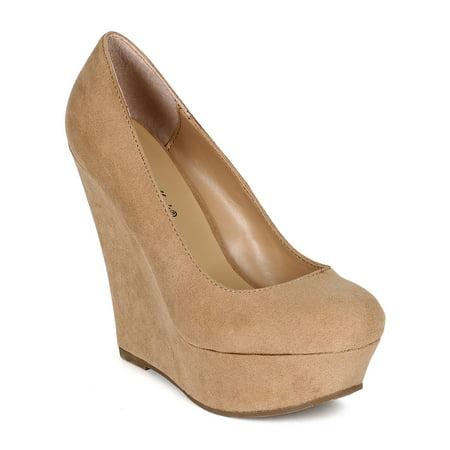37b257dbf82 Breckelles - Breckelles CK32 Women Suede Round Toe Platform Wedge Heel -  Walmart.com