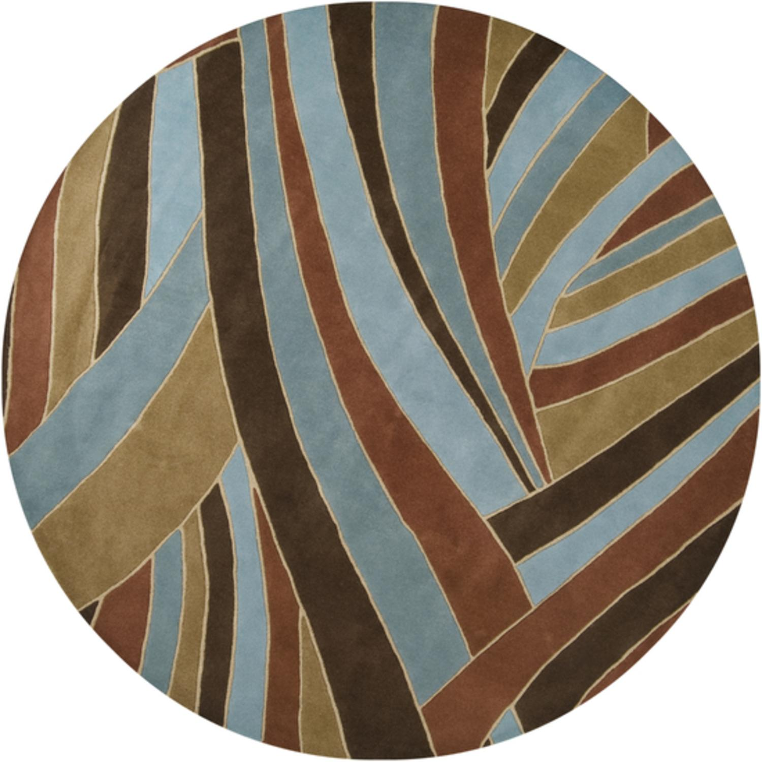 9.75' Mediterranean Jungle Contemporary Blue and Brown Round Wool Area Throw Rug