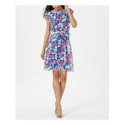 CALVIN KLEIN Womens Blue Floral Short Sleeve Jewel Neck Mini Sheath Party Dress  Size: 6