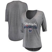 Washington Wizards Women's Deep V-Neck Tri-Blend Half-Sleeve T-Shirt - Gray
