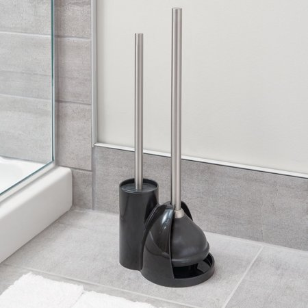 InterDesign Toilet Bowl Brush and Plunger Set for Bathroom