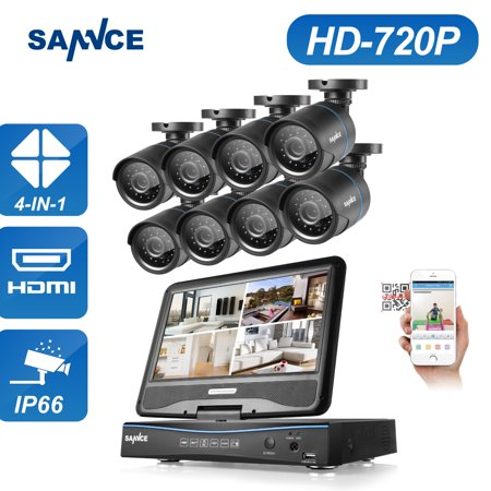Sannce 8ch 1080n Hd 10 Inch Monitor Dvr 8pcs 1 0mp Ir Home