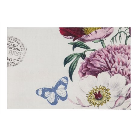 Vinyl Country Placemat - Woven Vinyl PVC Placemat, Floral Butterfly, Set of 4