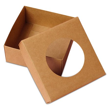 25ea - 6 X 6 X 1-3/4 Kraft Cookie Window Box-Pkg Width 6