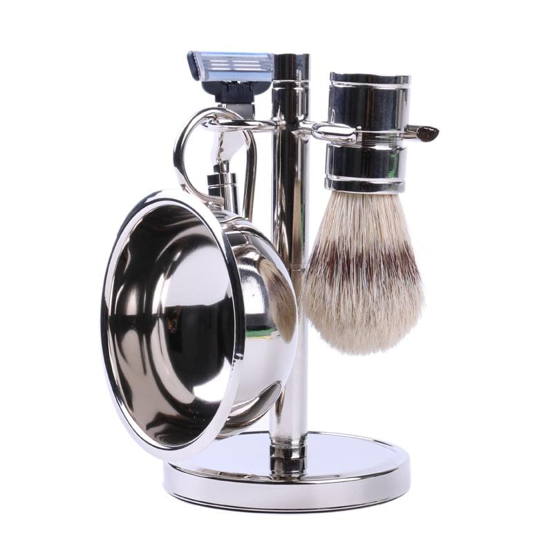 Men's Stainless Steel Shaving Set - Bowl, Brush, and Stan...