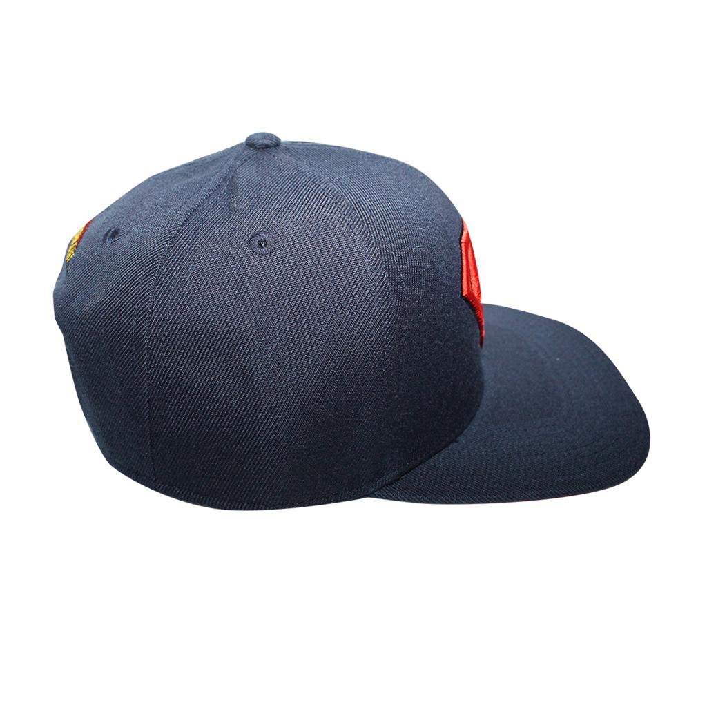 c6efdc1d61bbb ... switzerland superman classic logo licensed navy blue snapback hat b65a5  219fd