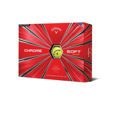 Callaway Chrome Soft Golf Balls, Yellow, 12 Pack