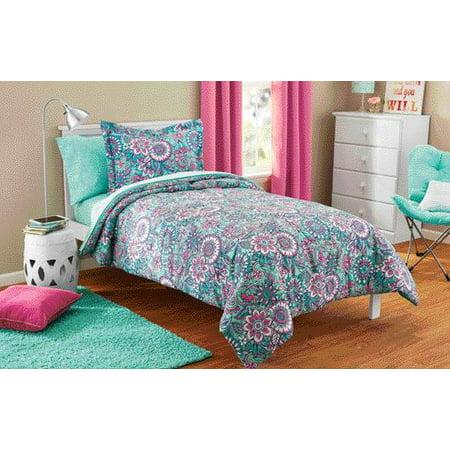 Mainstays Kids Floral Medallion Bed in a Bag Coordinating Bedding Set
