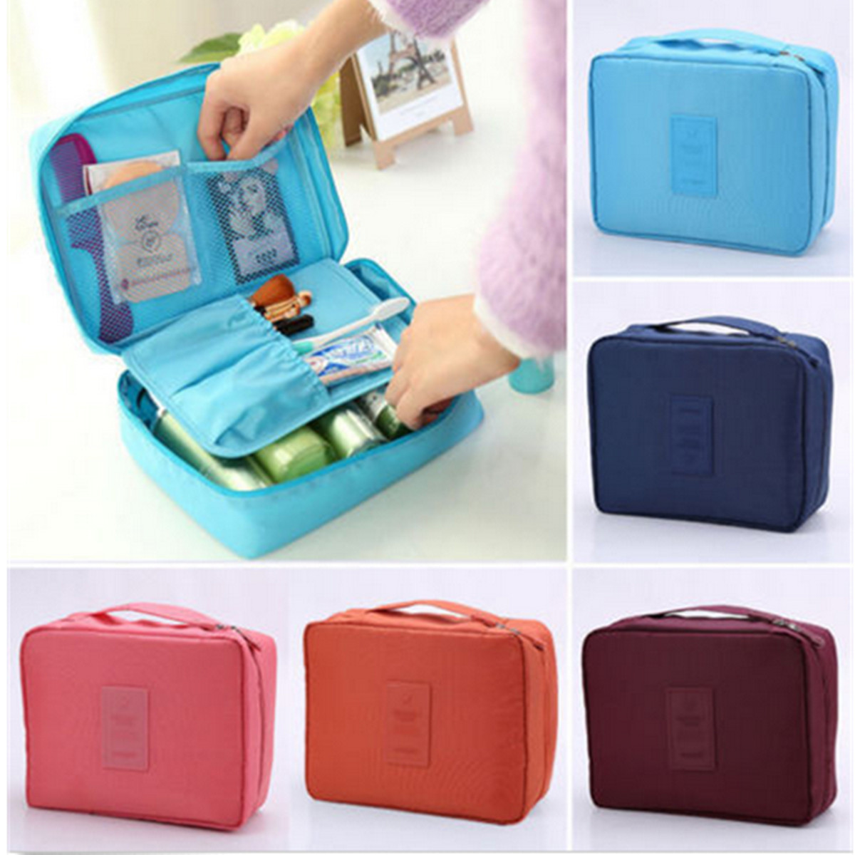 Portable Travel Cosmetic Bag Makeup Organizer Case Box Storage Bag Cosmetic  Toiletry Hanging Pouch Handbag