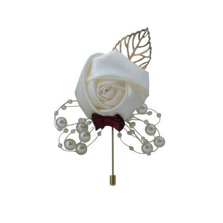 Wedding Simulation Flower Boutonniere Ceremony Brooch Groom Groomsmen Corsage - Wine Ceremony