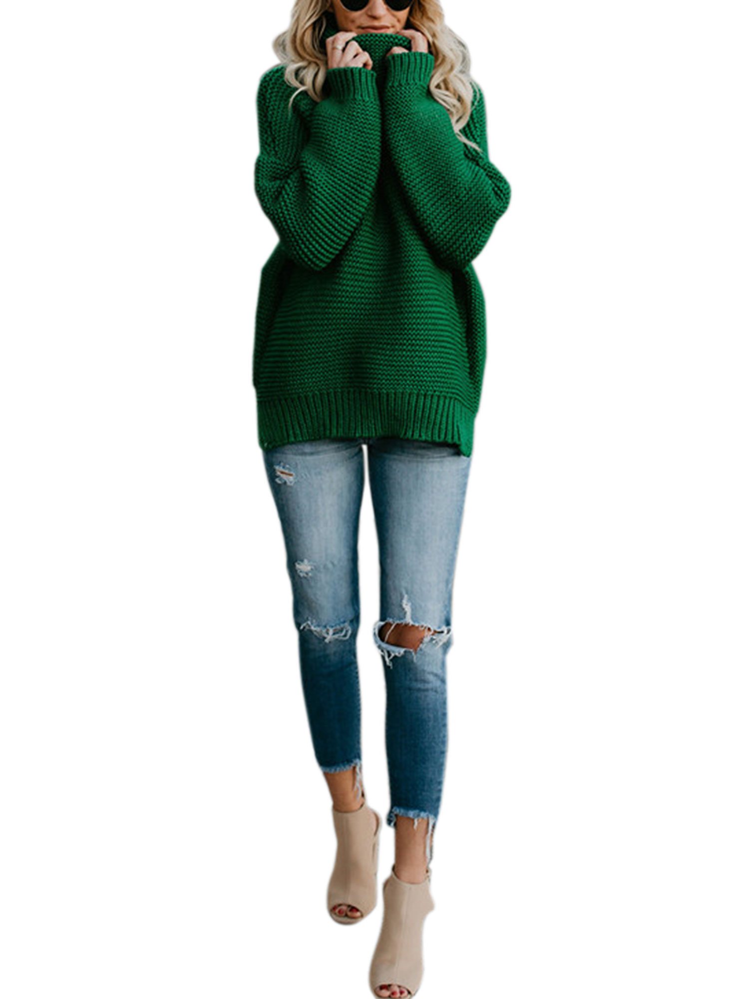 1f0c7732ef2d00 Womens Cable knit Sweaters Casual knitted Pullover High Neck Long Sleeves  Jumper Winter Autumn Knitting Coat Loose Cardigan Knitwear Outwear