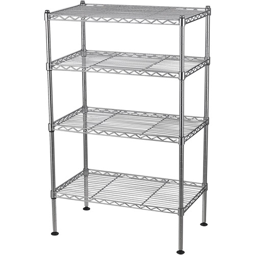 "Sandusky 20""W x 12""D x 32""H Four-Level Wire Shelving, Chrome"