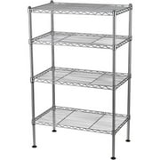 """Muscle Rack 20""""W x 12""""D x 32""""H Four-Level Wire Shelving, Chrome"""