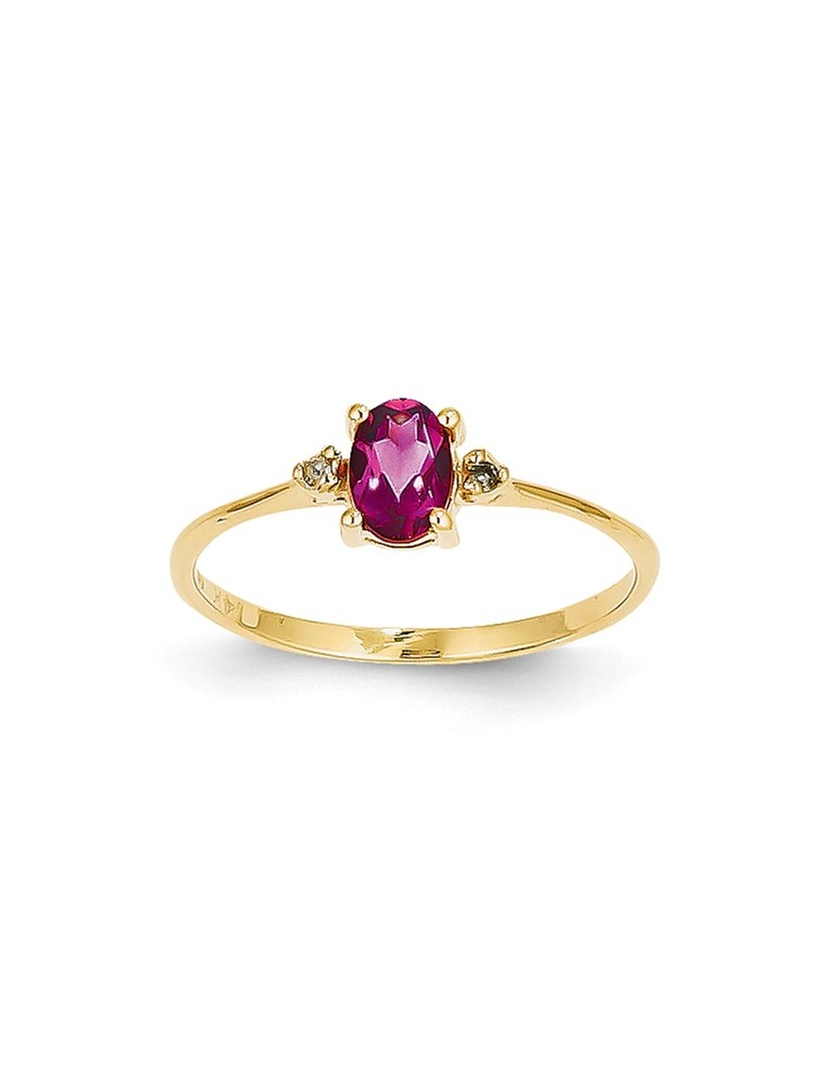 ICE CARATS 14kt Yellow Gold Diamond Pink Tourmaline Birthstone Band Ring Size 6.00 Stone October Oval Style Fine Jewelry... by IceCarats Designer Jewelry Gift USA