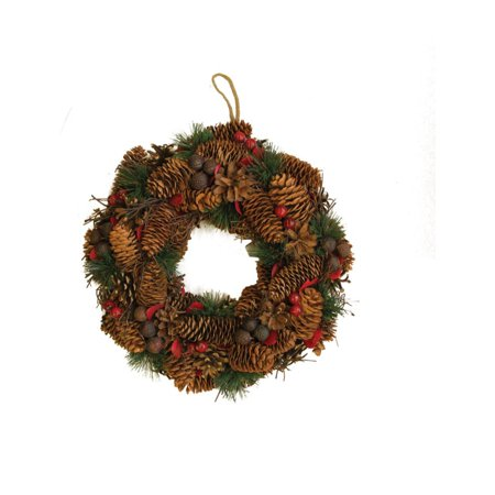 "13"" Decorative Berries Twigs Nuts and Pine Cones Christmas Wreath - Unlit"