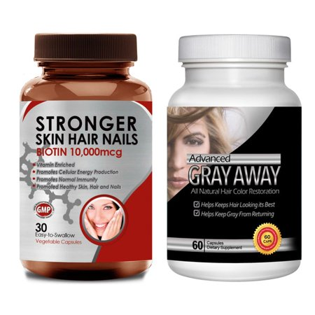 Totally Products Turn Gray Hair Away All-natural Hair Color Restoration and Biotin (Pack of