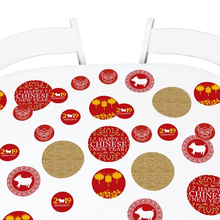 Chinese New Year - 2019 Year of the Pig Party Giant Circle Confetti - New Year Party Decorations - Large Confetti 27 Ct