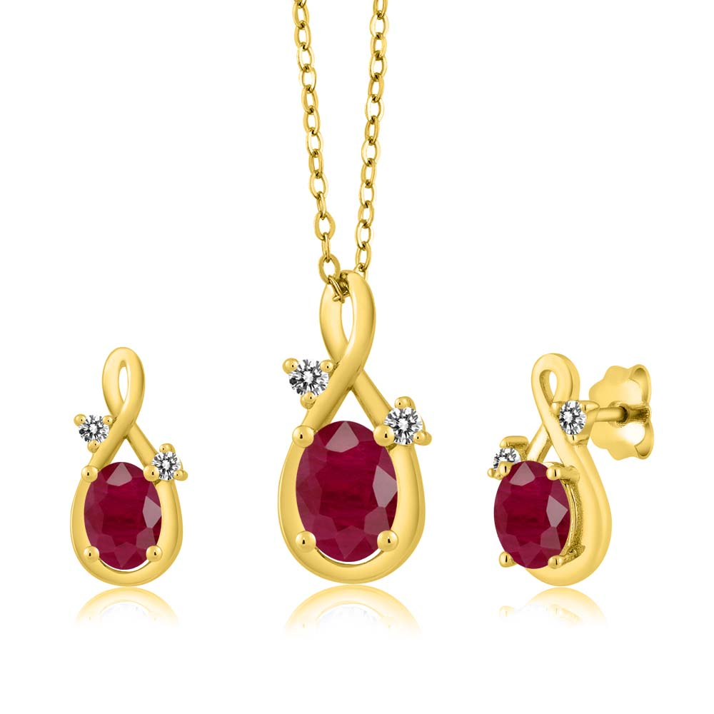 2.32 Ct Oval Red Ruby 18K Yellow Gold Pendant Earrings Set by