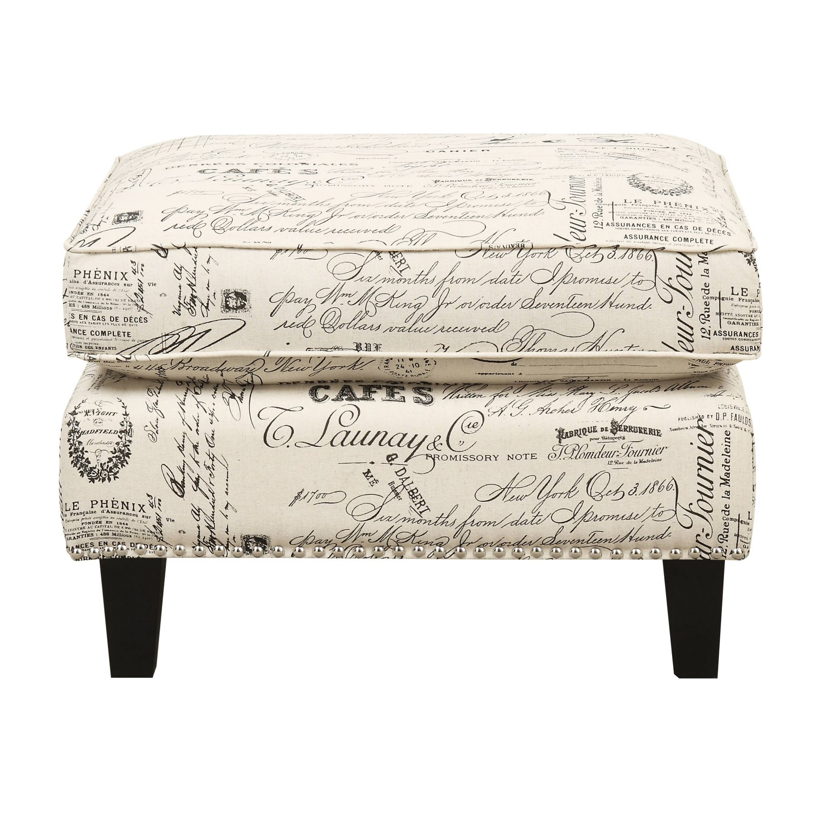Picket House Emery Ottoman in French Script