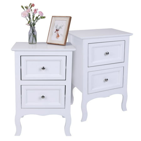 separation shoes bdc62 b4792 Nightstand Set of 2, 2 Drawers Bedroom Side Table Bedside Table, Density  Board Spray Paint Dressers, Stable Chest of Drawers, Compact Storage  Drawers, ...