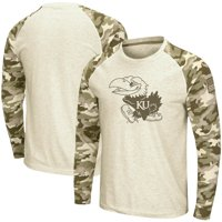 Kansas Jayhawks Colosseum OHT Military Appreciation Desert Camo Raglan Long Sleeve T-Shirt - Oatmeal