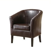 Pemberly Row Faux Leather Barrel Club Chair in Brown