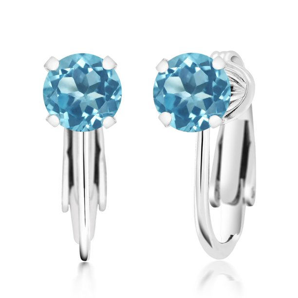 925 Sterling Silver Swiss Blue Topaz Clip On Earrings 2.00 Ct Round 6MM