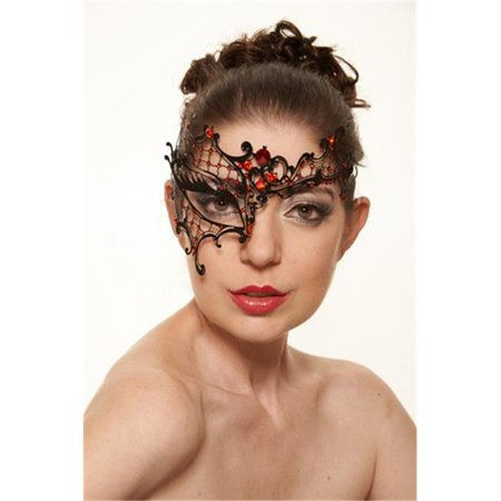 Kayso K2007RDBK Phantom of the Opera Inspired Black Laser Cut Metal Mask with Red Rhinestones - Red Feather Mask