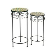 Brilliantly Styled Set of Two Metal Mosaic Plant Stand