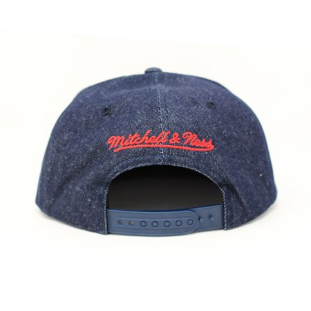 Mitchell and Ness Toronto Raptors Raw Denim PU Visor Blue Denim Snapback Hat - image 1 of 5