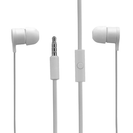 HTC Tangle Free Wired Earbuds w/ In Line Remote Hands-Free Stereo Headset -White
