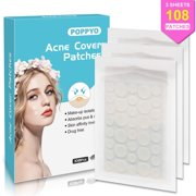 Acne Patch, Poppyo Acne Care Pimple Patch Absorbing Round Pads, Blemish Covers - Hydrocolloid Bandages (108 Count), Acne Spot Treatment for Face & Skin Spot Patch That Conceals Acne
