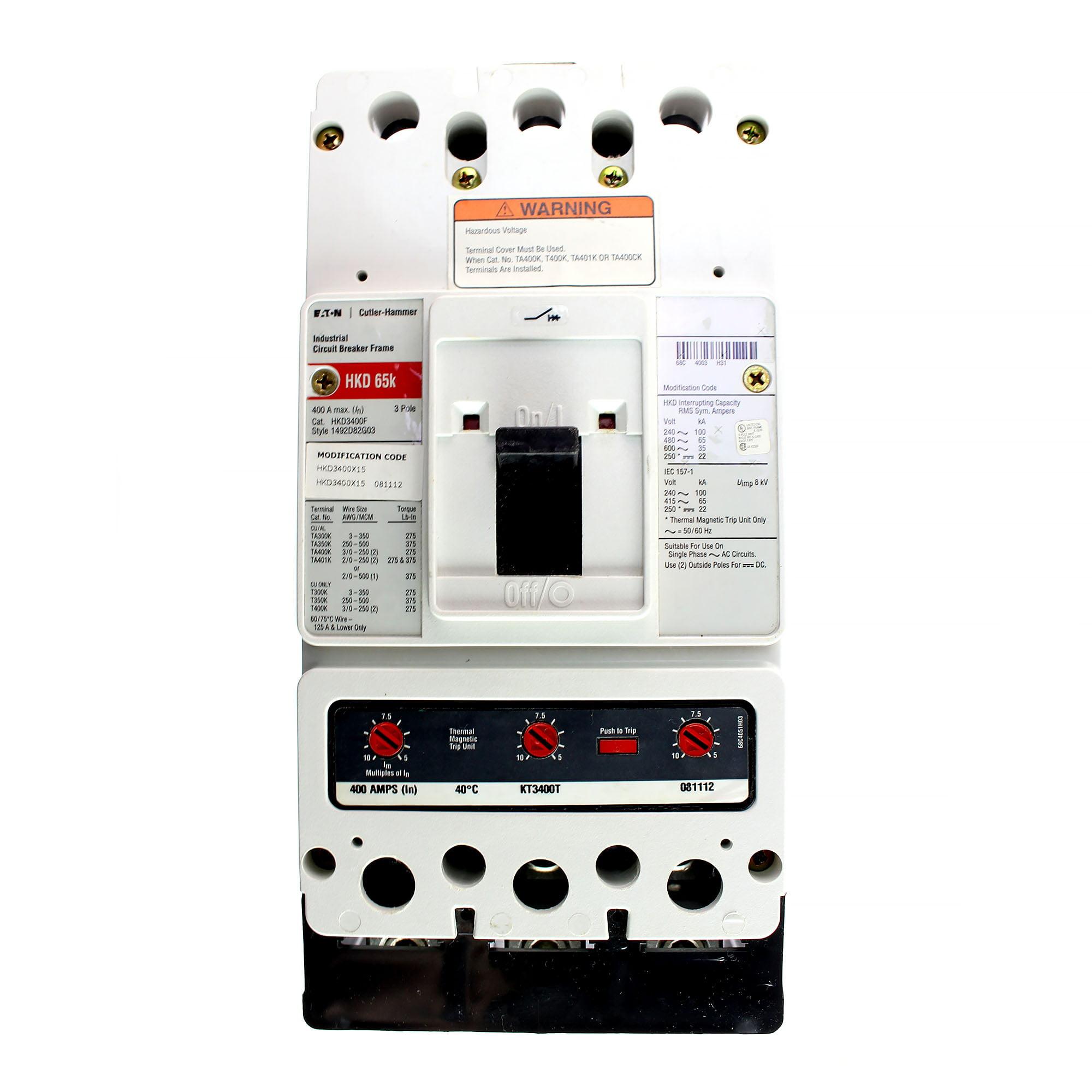 Cutler Hammer Eaton HKD3400F Circuit Breaker HKD Frame, 400A, 3-Pole, 240V