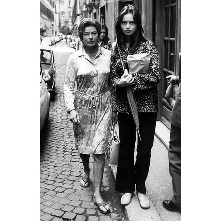 Ingrid Bergman and Isabella Rossellini on a footpath Photo Print (Isabella Photo)