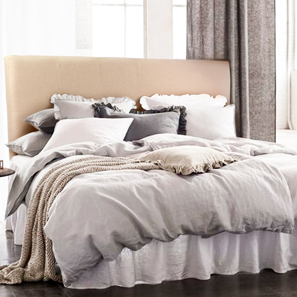 XtremepowerUS Barton Headboard Upholstered Tufted Button Fabric Full/Queen Size, Champagne