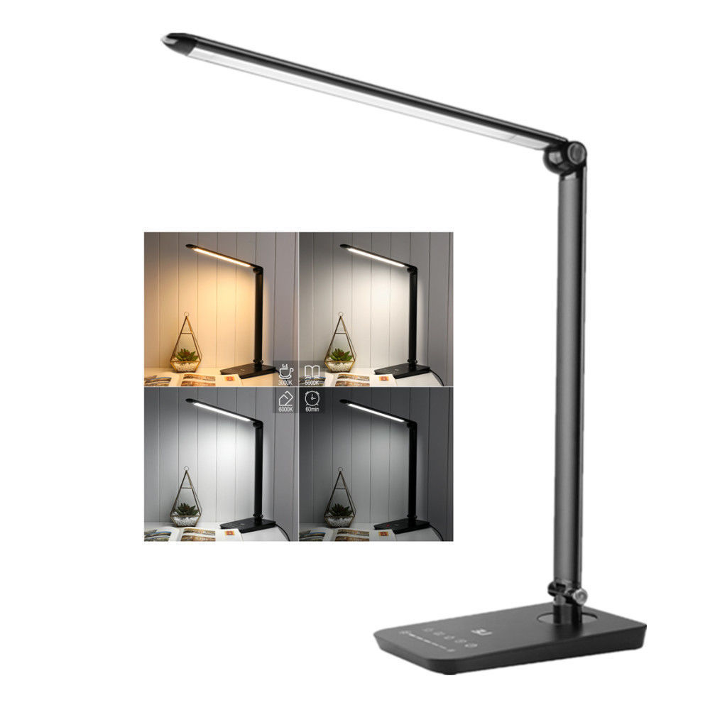 Lighting EVER Dimmable LED Desk Lamp, Table Lamps, 3 modes (Studying/ reading/ relaxing), 7-Level Dimmer, 8W, Touch Panel, Eye-care Folding Reading Lamps, Bedroom Lamps, Black
