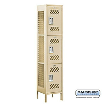 Extra Wide Vented Metal Locker - Triple Tier - 1 Wide - 6 Feet High - 18 Inches Deep - Tan -