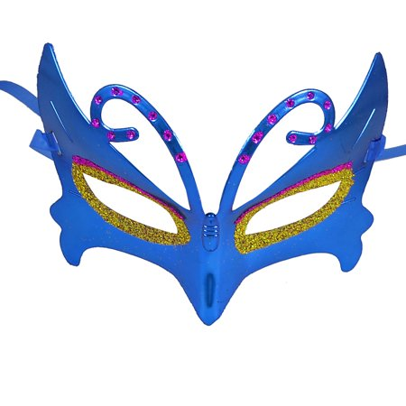 Unique Bargains Blue Self Tie Ribbon Band Glitter Powder Accent Halloween Party Masquerade Mask