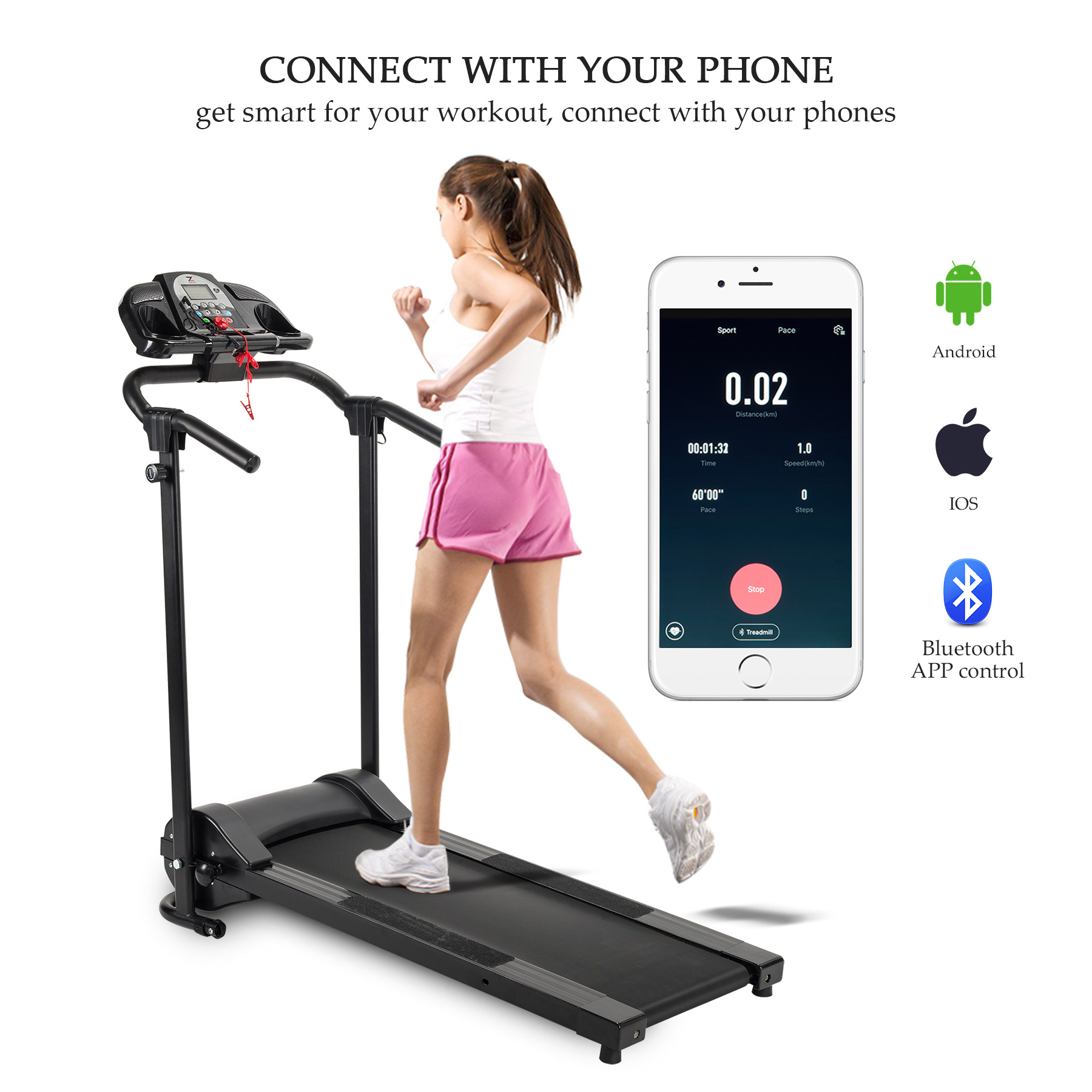 Folding Treadmill Electric Motorized Running Machine Home Gym w/ APP, Cup Holder & MP3 Player
