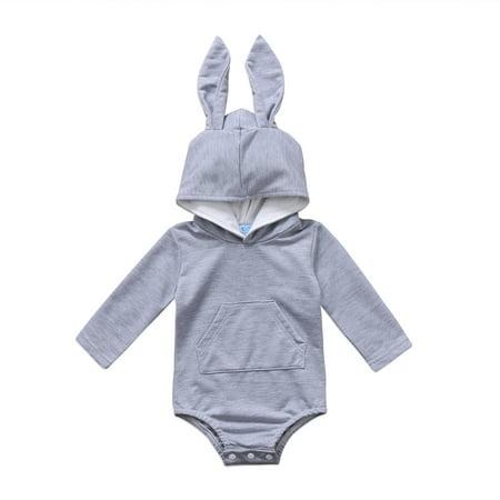 0b0168a20 CHRONSTYLE - 0-24M Baby Boys Girls Easter Bunny Hooded Romper Cartoon 3D  Rabbit Long Sleeve Bodysuit - Walmart.com