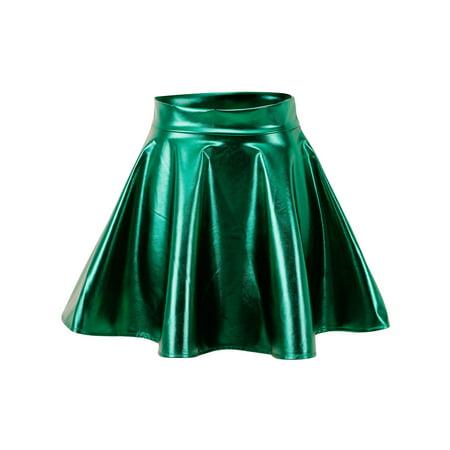 Ladies Halloween Fancy Dress Cheap (Metallic Ballet Dance Flared Skater Skirt Fancy Dress, Grass)