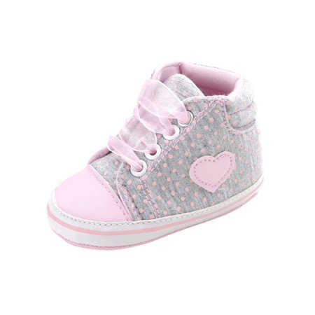 Lavaport Baby Girls Shoes Princess Lace-Up First Walkers Sneakers Polka Dots Shoes ()