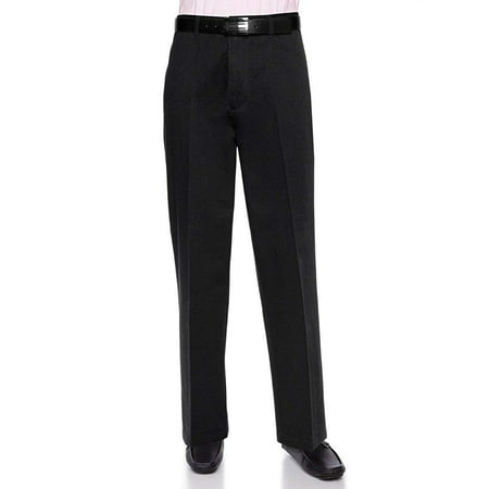 AKA Men's Work Pants Cotton Twill - Traditional Fit Slacks Flat-Front Black 36 XX-Short