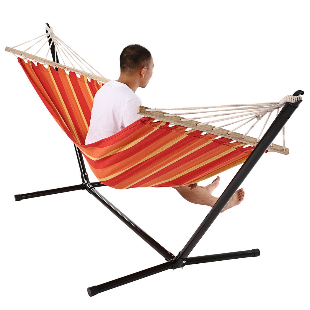 Single Outdoor Patio Stand Hammock Swing Striped with Portable Carrying Bag