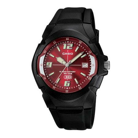 Casio Men's 10-Year Battery Sport Watch, Black/Red MW600F-4AV